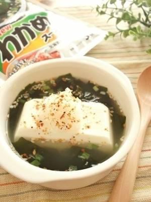 湯豆腐みたいな絹ごし入りわかめスープby:まんまるらあてさん