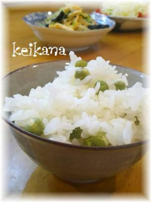 裏ワザ!風味豊か♪さやも炊く豆ごはんby:keikanaさん