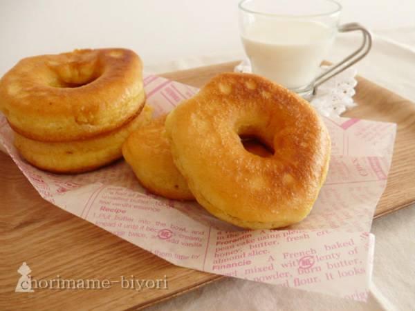 (フライパンで作る♪ふわふわ豆乳ドーナツ:西山京子/ちょりママさん)