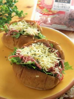 ロールパンサンド水菜&シュレッドビーフ&チーズby:まんまるらあてさん