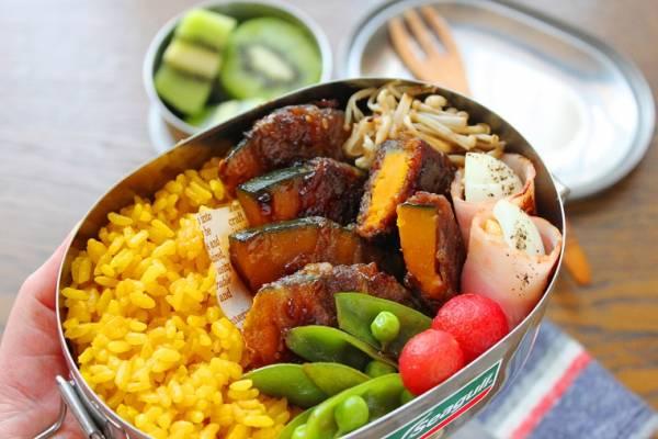 焼肉のたれで簡単!カレー風味のお弁当おかず「かぼちゃの肉巻き」by:料理研究家 かめ代さん