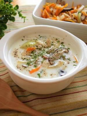 (後は牛乳を入れるだけ!野菜たっぷりスープの素by:まんまるらあてさん)