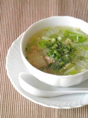 (3分煮るだけ☆鶏挽肉と白菜の春雨スープby:Y'sさん)