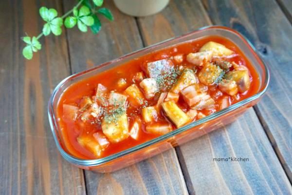 使い道いっぱい!簡単作り置き「ベーコンとなすのトマト煮込み」