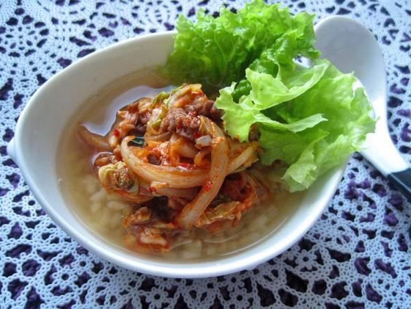 炒めキムチ玄米スープかけごはん(10min)by:えんさん