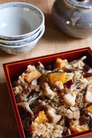 忙しい年の瀬に!だしいらずで簡単「かぼちゃと豚バラの炊き込みご飯」♪by:タラゴン(奥津純子)さん