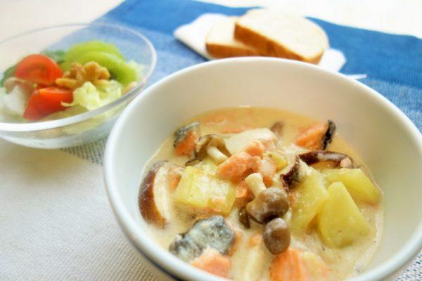レンジで時短!味つけも簡単な「キノコと鮭の和風シチュー」by:柳沢 紀子さん