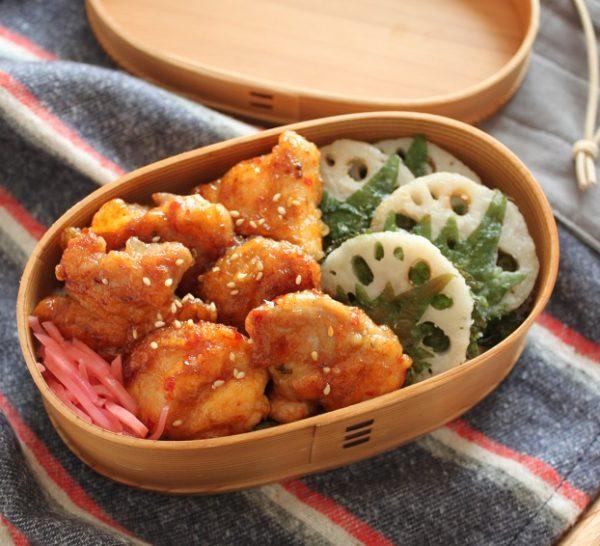 フライパンで簡単!「鶏のピリ辛照り焼き」「大葉れんこん」2品弁当
