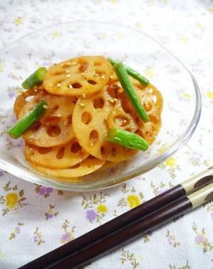 1行レシピ♪レンコンの梅キムチきんぴらby:machiさん