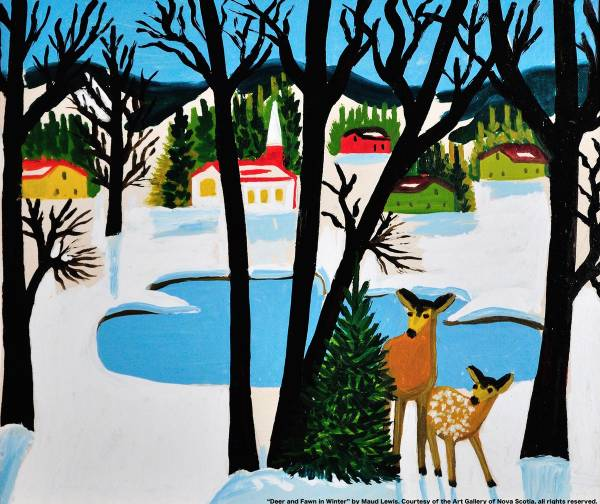 Deer and fawn in winter