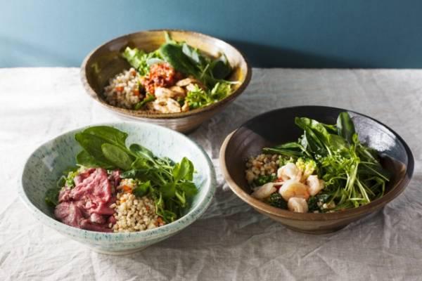 1日に必要な野菜の約半分を1品で摂れる「有機野菜ともち麦のサラダボウル」