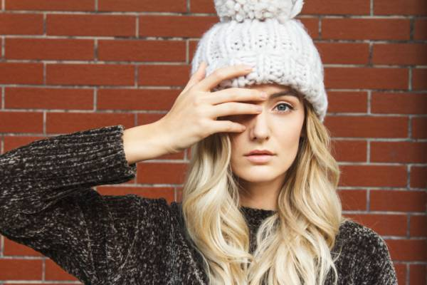 Beautiful woman with winter hat