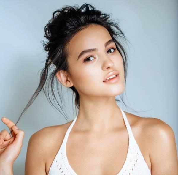 Beautiful woman face close up studio