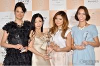 第1回「アイ・オブ・ザ・イヤー」を受賞した(左から)浦浜アリサ、壇蜜、今井華、滝沢カレン