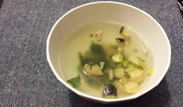 揚げ茄子と豚肉の生姜スープ無印良品