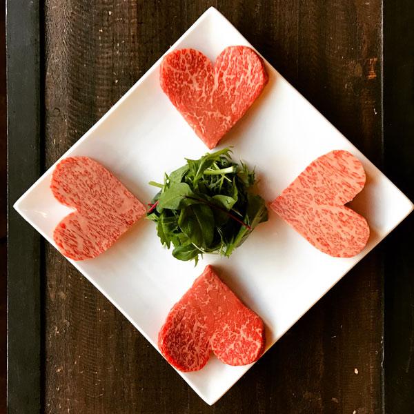 バレンタイン限定ハート型和牛ステーキ2種類