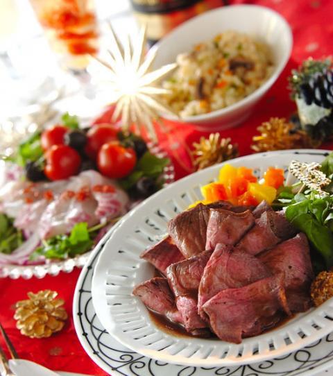 クリスマスイヴの今日は、ローストビーフを! デザートはシャンパンカクテルでオシャレに!