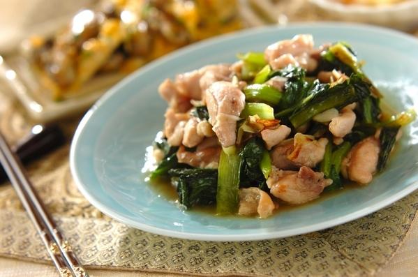 今日の献立は「鶏と小松菜の塩炒め」