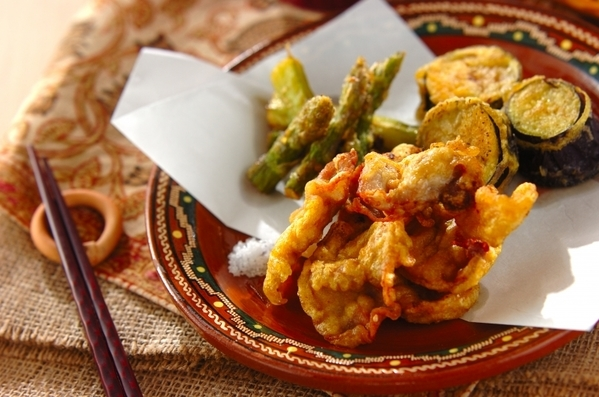 今日の献立は「豚肉のカレー風味天ぷら」