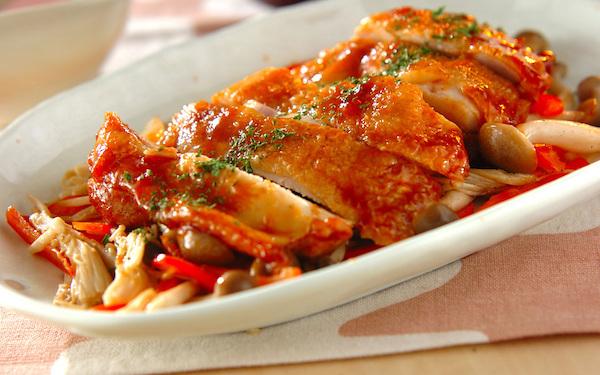ジューシーで美味しい、鶏もも肉のケチャップ焼き