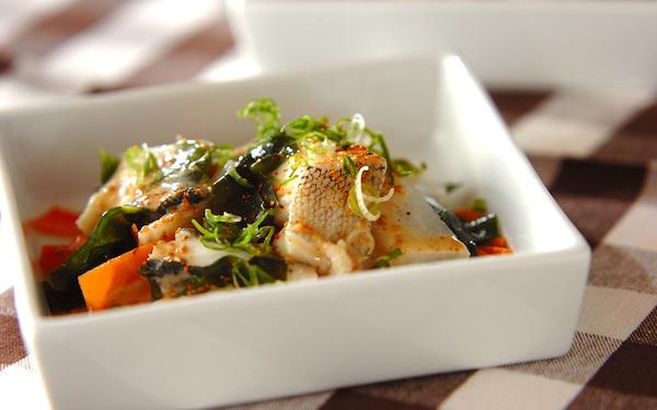バランスが良いお手軽レシピ、タラのレンジ蒸し