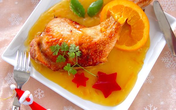 クリスマスのごちそう! ローストチキンオレンジソースがけ