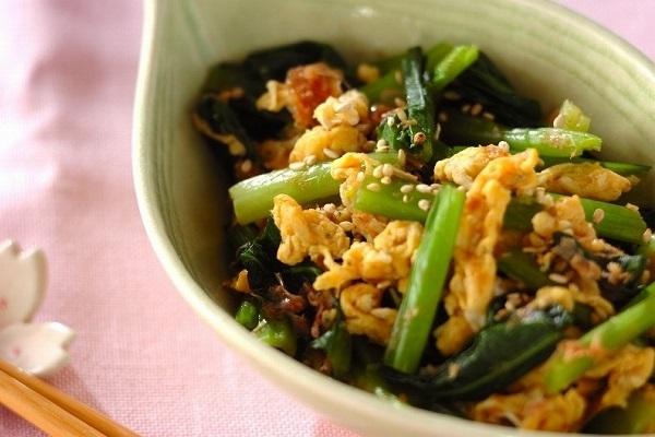 小松菜と卵のお浸し