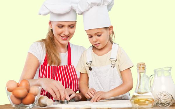 母、子、料理