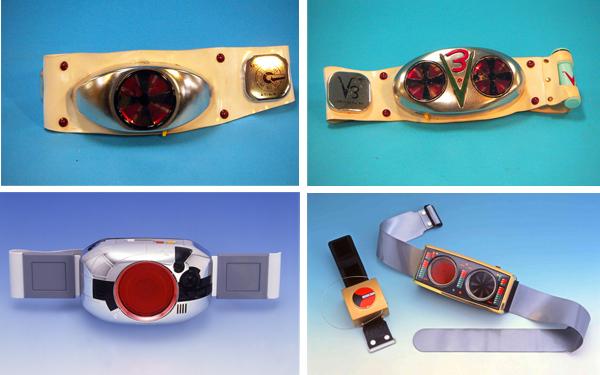 (左上)1971仮面ライダー 光る回る 電動変身ベルト、(右上)1973仮面ライダーV3 Wタイフーンが光る!回る!電動変身ベルト、(左下)1987仮面ライダーBLACK テレビパワーDX変身ベルト、(右下)1988仮面ライダーBlack RXアクションコントロールDXライダー変身ベルト