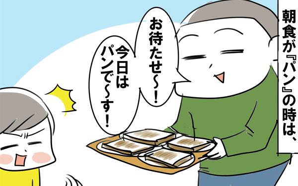 朝はパン♪の日は…