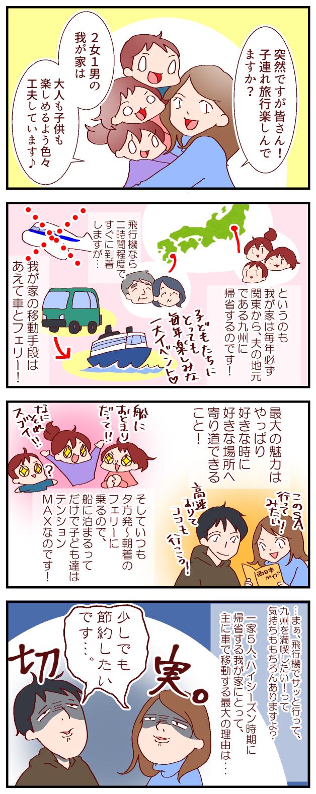 関東から九州への規制は車とフェリーで! その最大の理由は節約!