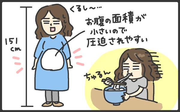 身長が低い私の場合、おなかが圧迫されて、つわりが終わってもご飯が食べられない