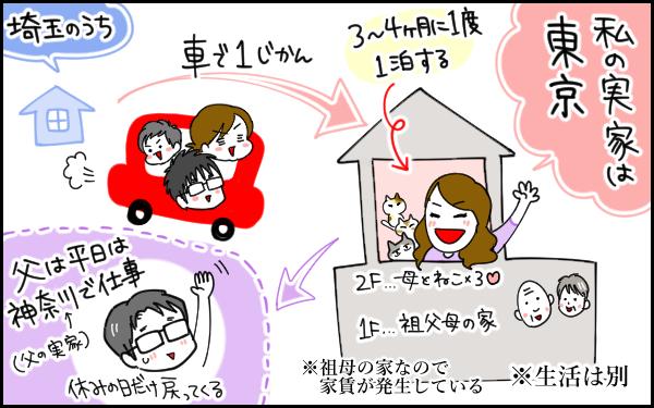 私の実家は東京。母は祖父母の家の2階に暮らしています。父は平日は神奈川で仕事をしていて、戻るのは休みの日だけ。