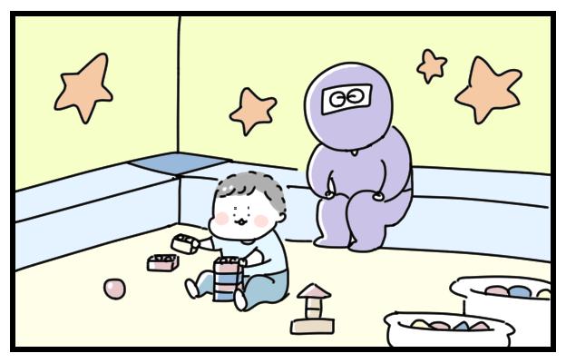 キッズコーナーで遊ぶ甥