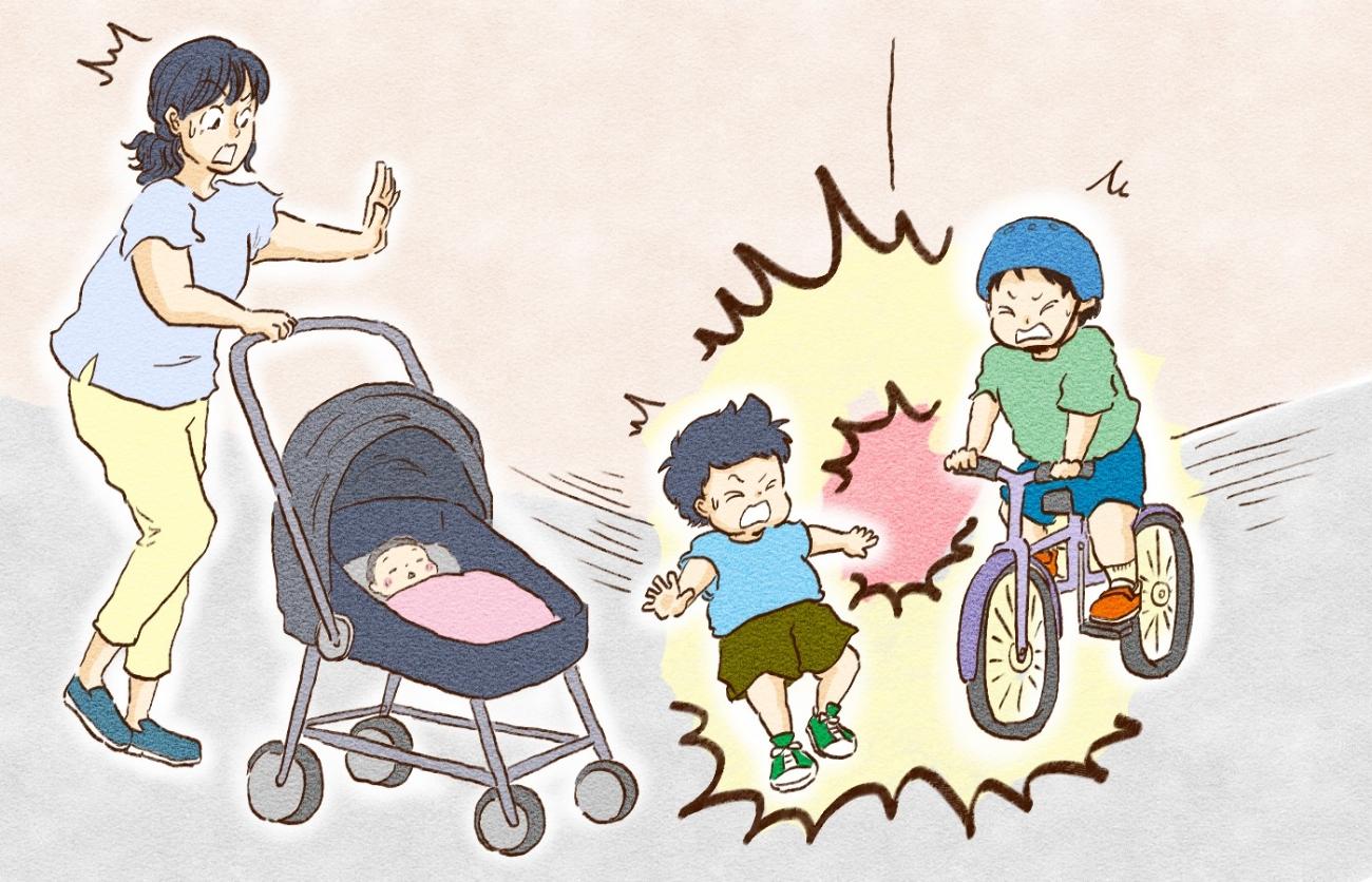 子どもを乗せた自転車が横転してケガ!…コロナ禍でも子育てファミリーの「日常の移動」はリスクだらけ?!