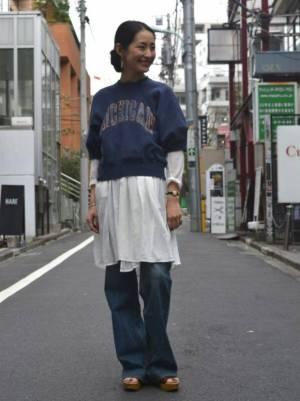 スウェットとシャツのレイヤードコーデ