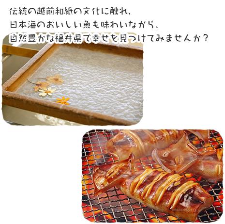 伝統の越前和紙の文化に触れ、日本海のおいしい魚も味わいながら、自然豊かな福井県で幸せを見つけてみませんか?
